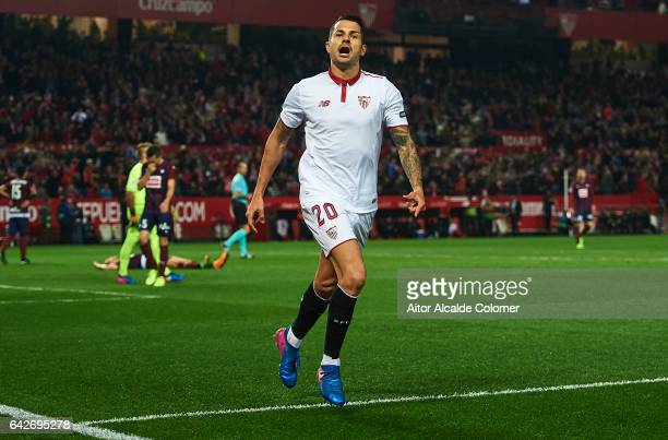 Victor Machin Perez 'Vitolo' of Sevilla FC celebrates after scoring the second goal fo Sevilla FC during the La Liga match between Sevilla FC and SD...