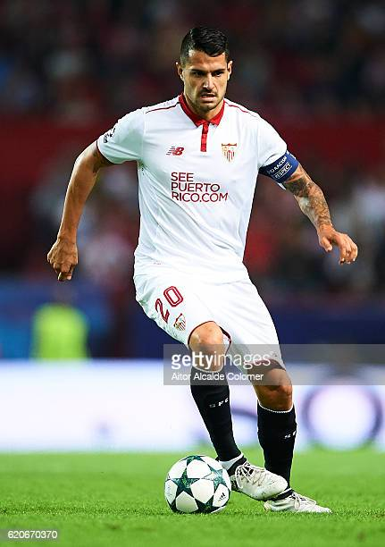 Victor Machin Perez 'Vitolo' of Sevilla FC in action during the UEFA Champions League match between Sevilla FC vs GNK Dinamo Zagreb at the Sanchez...
