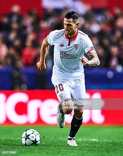 Victor Machin Perez 'Vitolo' of Sevilla FC in action during the UEFA Champions League match between Sevilla FC and Juventus at Estadio Ramon Sanchez...