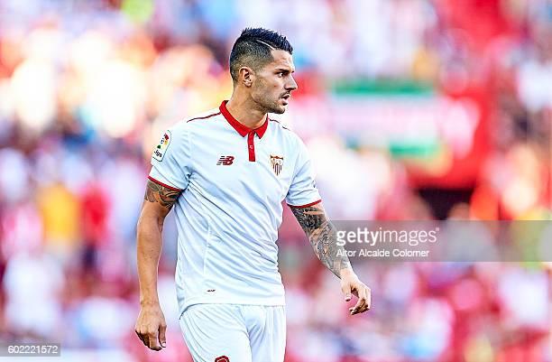 Victor Machin Perez 'Vitolo' of Sevilla FC looks on during the match between Sevilla FC vs UD Las Palmas as part of La Liga at Estadio Ramon Sanchez...