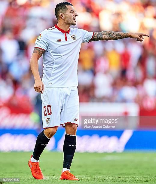 Victor Machin Perez 'Vitolo' of Sevilla FC reacts during the match between Sevilla FC vs UD Las Palmas as part of La Liga at Estadio Ramon Sanchez...