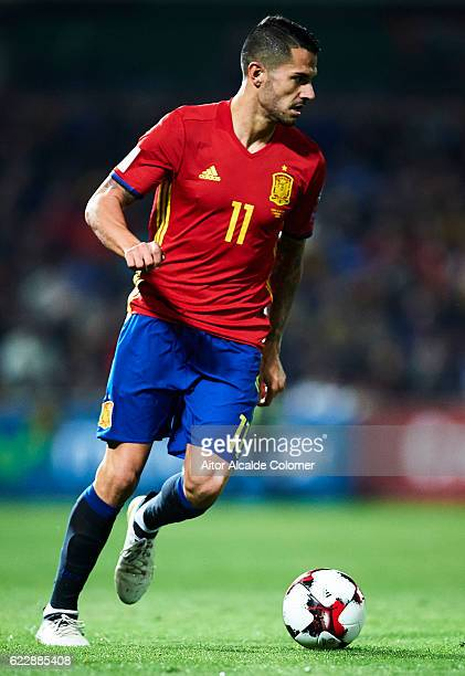 Victor Machin Perez 'Vitolo' of Spain in action during the FIFA 2018 World Cup Qualifier between Spain and FYR Macedonia at Estadio Nuevos los...