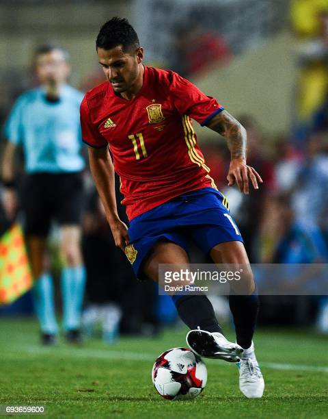 Victor Machin 'Vitolo' of Spain runs with the ball during a friendly match between Spain and Colombia at La Nueva Condomina stadium on June 7 2017 in...