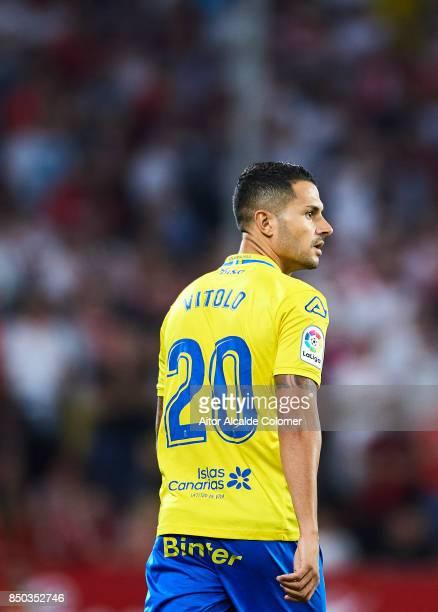 Victor Machin 'Vitolo' of Union Deportiva Las Palmas looks on during the La Liga match between Sevilla and Las Palmas at Estadio Ramon Sanchez...