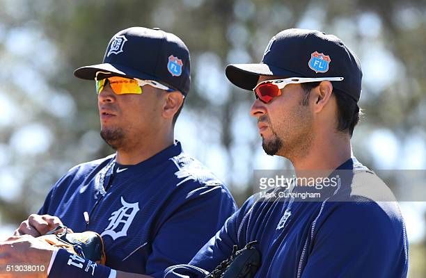 Victor Martinez and Anibal Sanchez of the Detroit Tigers look on during the Spring Training workout day at the TigerTown Facility on February 26 2016...