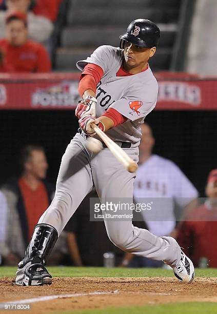 Victor Martinez of the Boston Red Sox at bat against the Los Angeles Angels of Anaheim in Game Two of the ALDS during the 2009 MLB Playoffs at Angel...