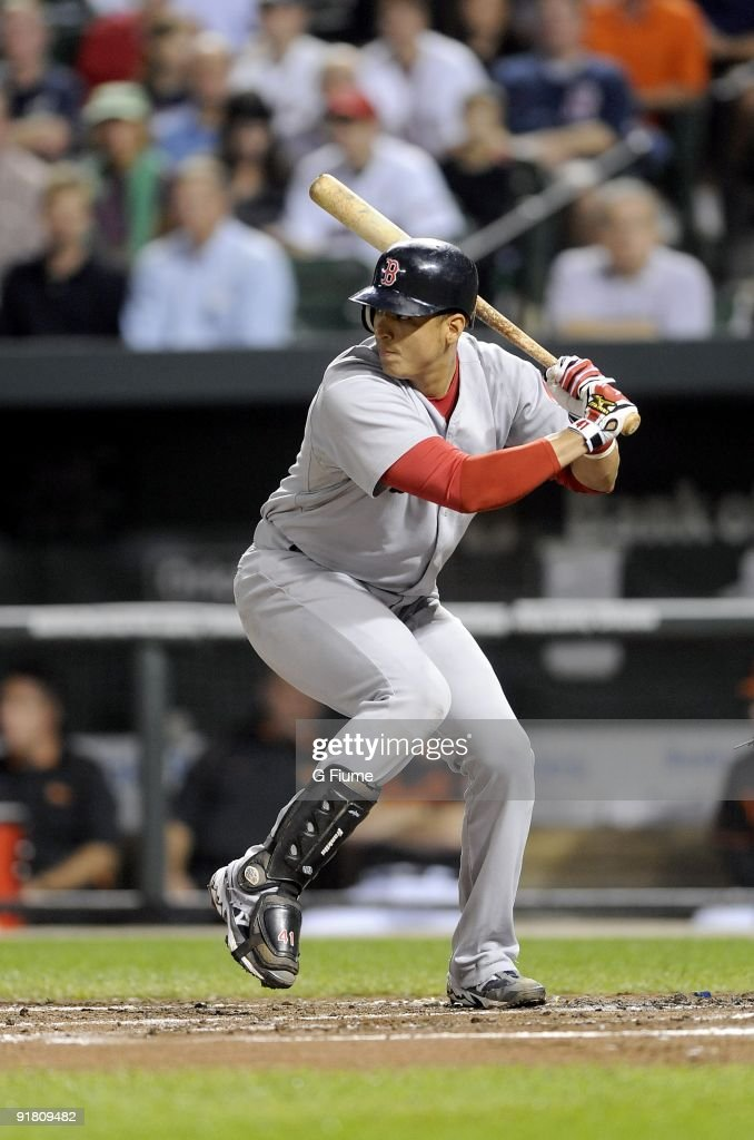 Victor Martinez #41 of the Boston Red Sox bats against the Baltimore Orioles on September 18, 2009 at Camden Yards in Baltimore, Maryland.