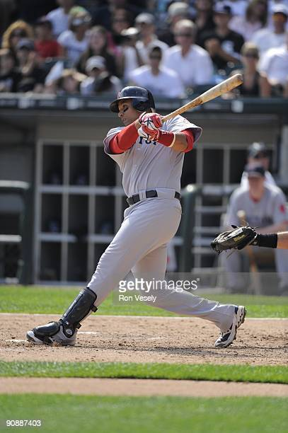 Victor Martinez of the Boston Red Sox bats against the Chicago White Sox on September 7 2009 at US Cellular Field in Chicago Illinois The White Sox...