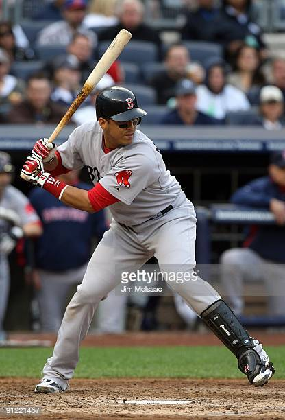 Victor Martinez of the Boston Red Sox bats against the New York Yankees on September 26 2009 at Yankee Stadium in the Bronx borough of New York City