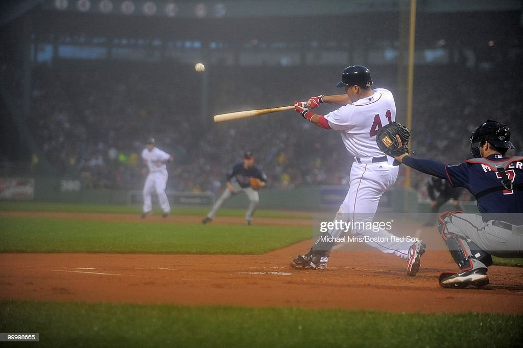 Victor Martinez #41 of the Boston Red Sox hit a long fly ball that came within a few feet of a home run against the Minnesota Twins in the first inning on May 19, 2010 at Fenway Park in Boston, Massachusetts.