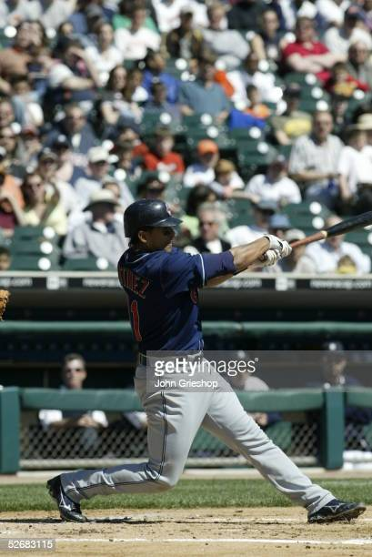 Victor Martinez of the Cleveland Indians bats during the game between the Cleveland Indians and the Detroit Tigers at Comerica Park on April 9 2005...