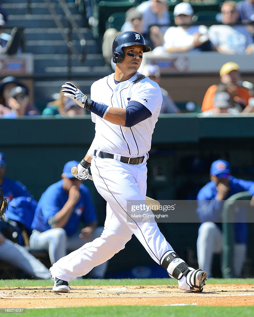 Victor Martinez #41 of the Detroit Tigers bats during the spring training game against the Toronto Blue Jays at Joker Marchant Stadium on March 6, 2013 in Lakeland, Florida. The Tigers defeated the Blue Jays 4-1.