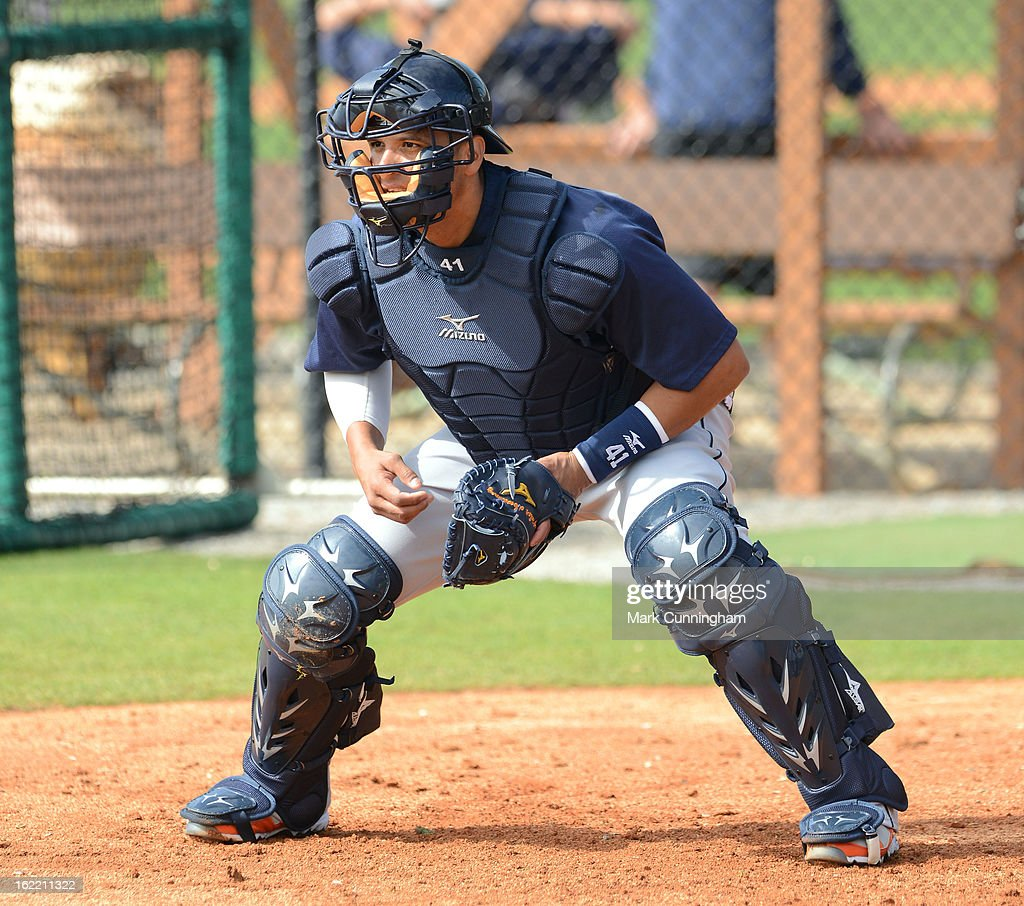 Victor Martinez #41 of the Detroit Tigers catches during Spring Training workouts at the TigerTown Facility on February 20, 2013 in Lakeland, Florida.
