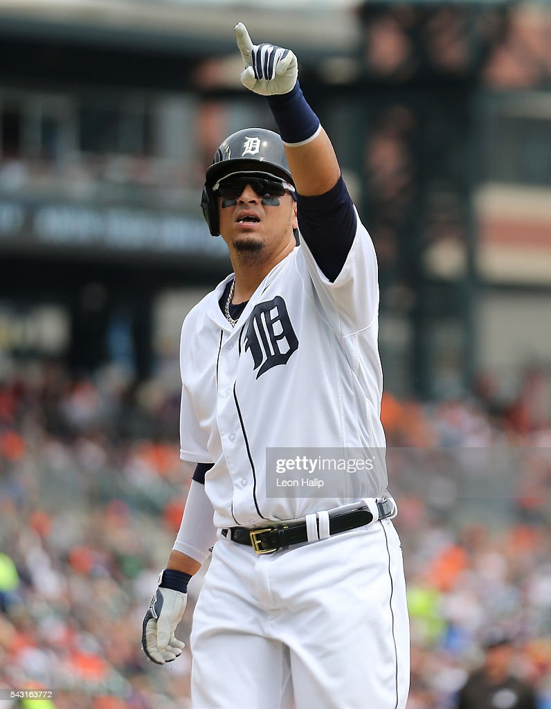 <a gi-track='captionPersonalityLinkClicked' href=/galleries/search?phrase=Victor+Martinez+-+Baseball+Player&family=editorial&specificpeople=210515 ng-click='$event.stopPropagation()'>Victor Martinez</a> #41 of the Detroit Tigers celebrates a solo home run in the sixth inning of the game against the Cleveland Indians on June 26, 2016 at Comerica Park in Detroit, Michigan.