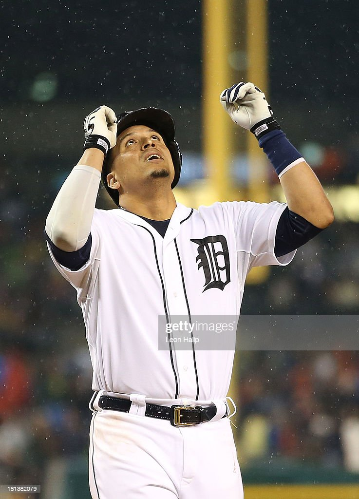 Victor Martinez #41 of the Detroit Tigers celebrates after hitting a two-run home run in the fifth inning of the game against the Chicago White Sox at Comerica Park on September 20, 2013 in Detroit, Michigan.