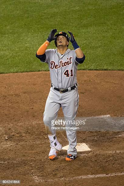 Victor Martinez of the Detroit Tigers celebrates his home run against the Minnesota Twins on August 23 2016 at Target Field in Minneapolis Minnesota...