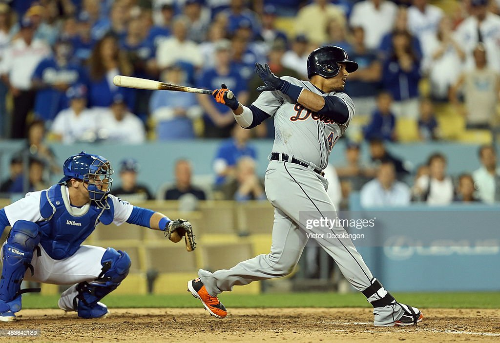 Victor Martinez #41 of the Detroit Tigers hits a single to center against pitcher Kenley Jansen #74 of the Los Angeles Dodgers (not in photo) to score teammate Ian Kinsler #3 (not in photo) from second base tying the game at 2-2 in the ninth inning during the MLB game at Dodger Stadium on April 8, 2014 in Los Angeles, California. The Dodgers defeated the Tigers 3-2 in 10 innings.