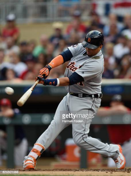 Victor Martinez of the Detroit Tigers hits a solo home run against the Minnesota Twins during the second inning of the game on July 21 2017 at Target...