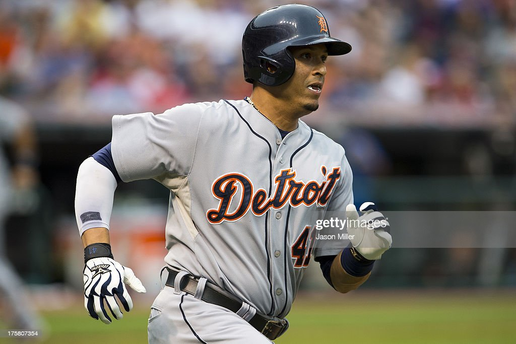 Victor Martinez #41 of the Detroit Tigers hits a two RBI double during the third inning against the Cleveland Indians at Progressive Field on August 8, 2013 in Cleveland, Ohio.