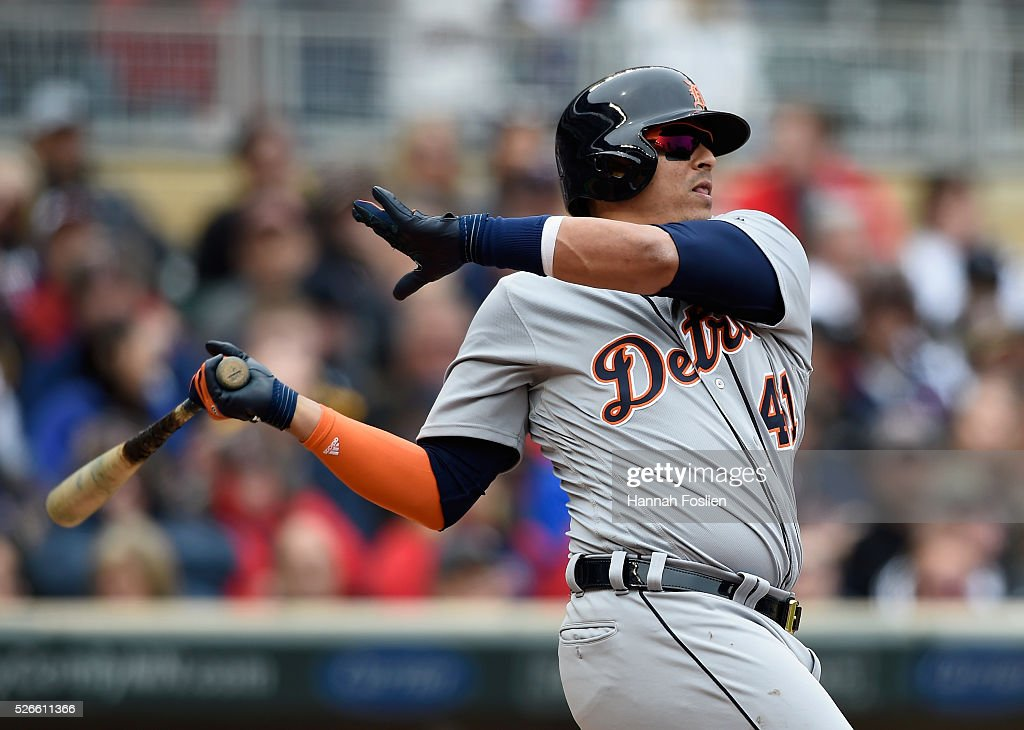 <a gi-track='captionPersonalityLinkClicked' href=/galleries/search?phrase=Victor+Martinez+-+Baseball+Player&family=editorial&specificpeople=210515 ng-click='$event.stopPropagation()'>Victor Martinez</a> #41 of the Detroit Tigers hits an RBI double against the Minnesota Twins during the sixth inning of the game on April 30, 2016 at Target Field in Minneapolis, Minnesota. The Tigers defeated the Twins 4-1.