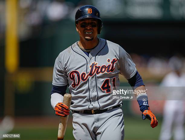 Victor Martinez of the Detroit Tigers reacts after fouling off a pitch against the Seattle Mariners at Safeco Field on June 1 2014 in Seattle...