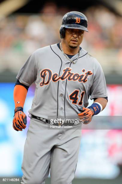 Victor Martinez of the Detroit Tigers rounds the bases after hitting a home run against the Minnesota Twins during the game on July 21 2017 at Target...