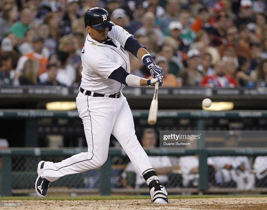 Victor Martinez #41 of the Detroit Tigers singles against the Tampa Bay Rays during the sixth inning at Comerica Park on July 3, 2014 in Detroit, Michigan. The Tigers defeated the Rays 8-1.