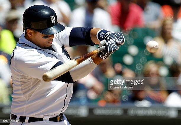Victor Martinez of the Detroit Tigers takes a swing at a pitch from JA Happ of the Toronto Blue Jays during the second inning at Comerica Park on...