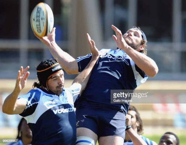 Victor Matfield and Danie Rossouw in action during the Vodacom Bulls training session at Loftus Versfeld B Field on May 17 2010 in Pretoria South...