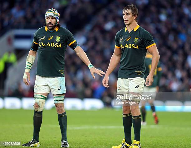 Victor Matfield and Eben Etzebeth of South Africa during the QBE International match between England and South Africa at Twickenham Stadium on...