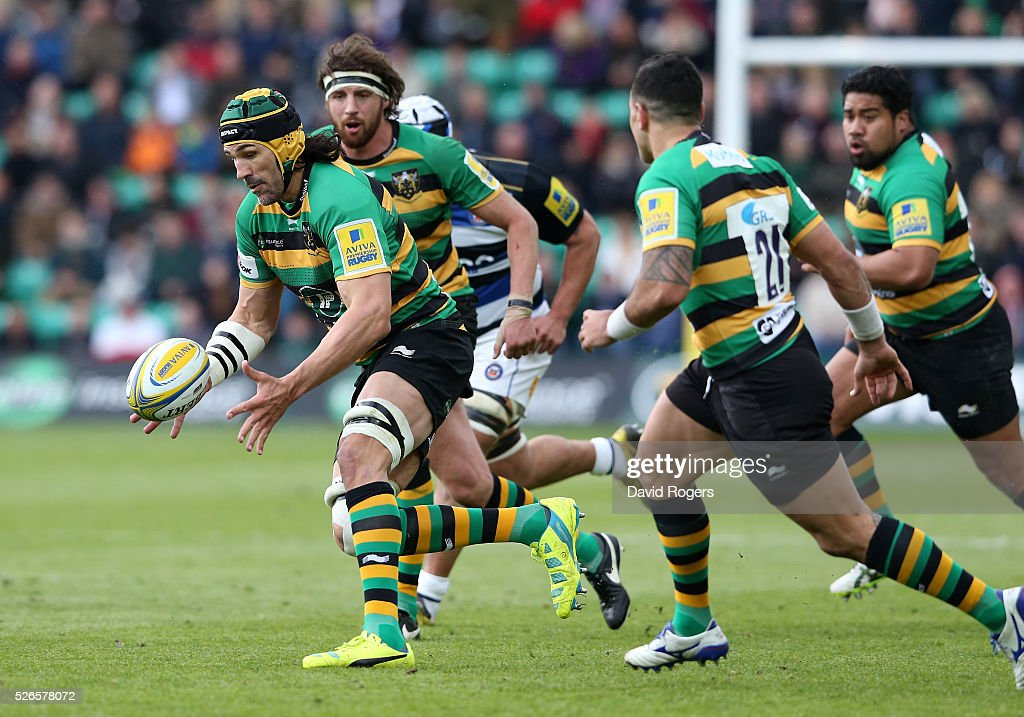 Victor Matfield of Northampton catches the ball during the Aviva Premiership match between Northampton Saints and Bath at Franklin's Gardens on April 30, 2016 in Northampton, England.