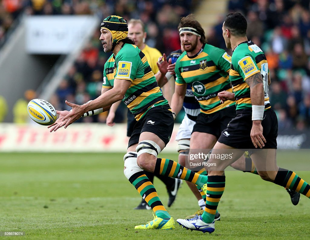 Victor Matfield of Northampton passes the ball during the Aviva Premiership match between Northampton Saints and Bath at Franklin's Gardens on April 30, 2016 in Northampton, England.