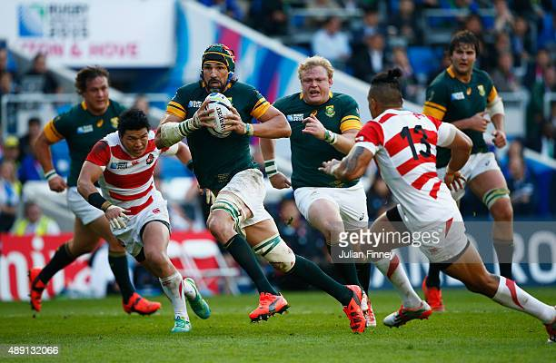 Victor Matfield of South Africa breaks the line during the 2015 Rugby World Cup Pool B match between South Africa and Japan at the Brighton Community...