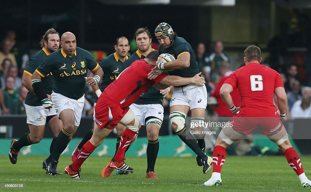 Victor Matfield (captain) of South Africa during the Incoming Tour match between South Africa and Wales at Growthpoint Kings Park on June 14, 2014 in Durban, South Africa.