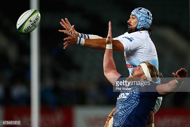 Victor Matfield of the Bulls and Josh Bekhuis of the Blues contest the ball in the lineout during the round 14 Super Rugby match between the Blues...