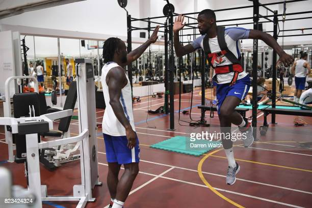 Victor Moses and Antonio Rudiger of Chelsea during a gym session at the Singapore American School on July 27 2017 in Singapore