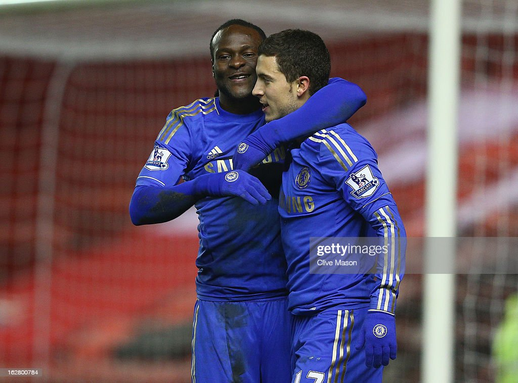 Victor Moses and eden Hazard of Chelsea celebrate Moses' goal during the FA Cup with Budweiser Fifth Round match between Middlesbrough and Chelsea at...