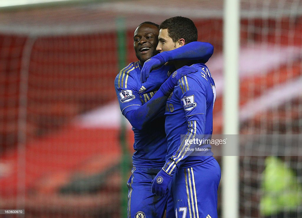 Victor Moses and eden Hazard of Chelsea celebrate Moses' goal during the FA Cup with Budweiser Fifth Round match between Middlesbrough and Chelsea at Riverside Stadium on February 27, 2013 in Middlesbrough, England.