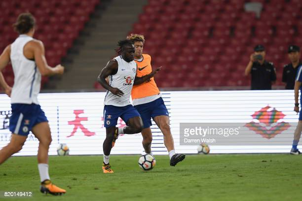 Victor Moses and Marcos Alonso of Chelsea during a training session at the Birds Nest Stadium on July 21 2017 in Beijing