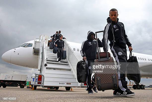 Victor Moses and Ryan Bertrand of Chelsea arrive at Amsterdam Schiphol Airport ahead of the UEFA Europa League Final between Chelsea and SL Benfica...