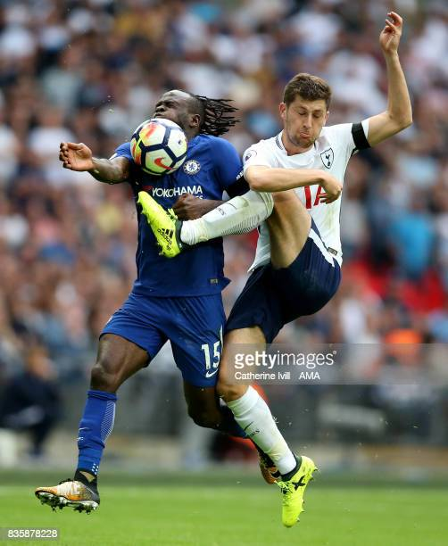 Victor Moses of Chelsea and Ben Davies of Tottenham Hotspur during the Premier League match between Tottenham Hotspur and Chelsea at Wembley Stadium...