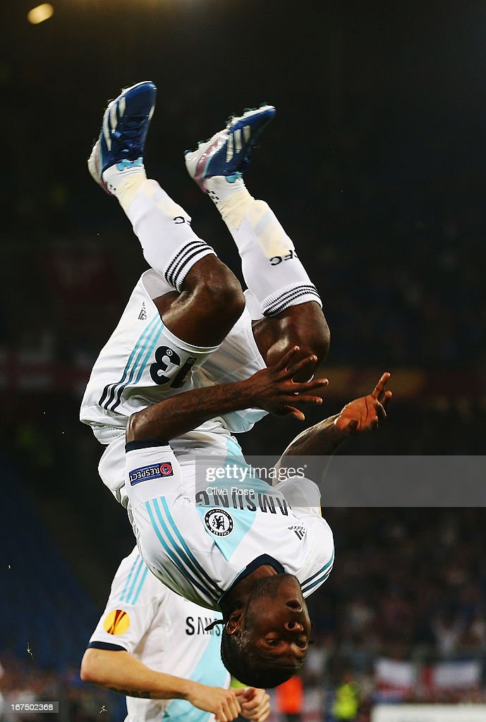<a gi-track='captionPersonalityLinkClicked' href=/galleries/search?phrase=Victor+Moses&family=editorial&specificpeople=2649383 ng-click='$event.stopPropagation()'>Victor Moses</a> of Chelsea celebrates scoring during the UEFA Europa League Semi Final First Leg match between FC Basel 1893 and Chelsea at St. Jakob Stadium on April 25, 2013 in Basel, Switzerland.