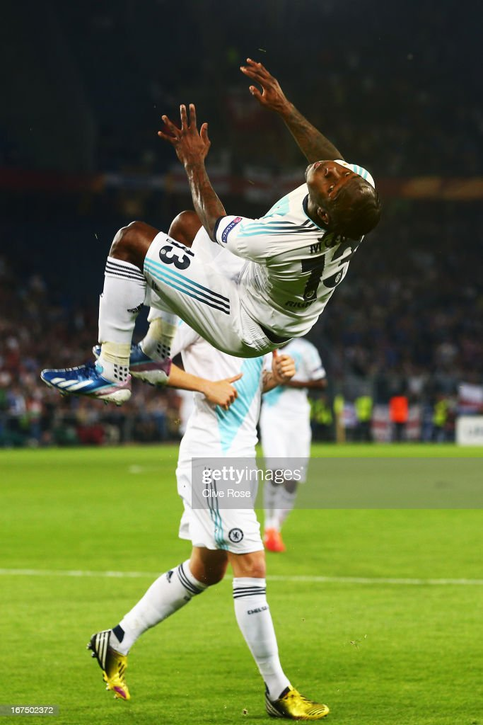 Victor Moses of Chelsea celebrates scoring during the UEFA Europa League Semi Final First Leg match between FC Basel 1893 and Chelsea at St Jakob...