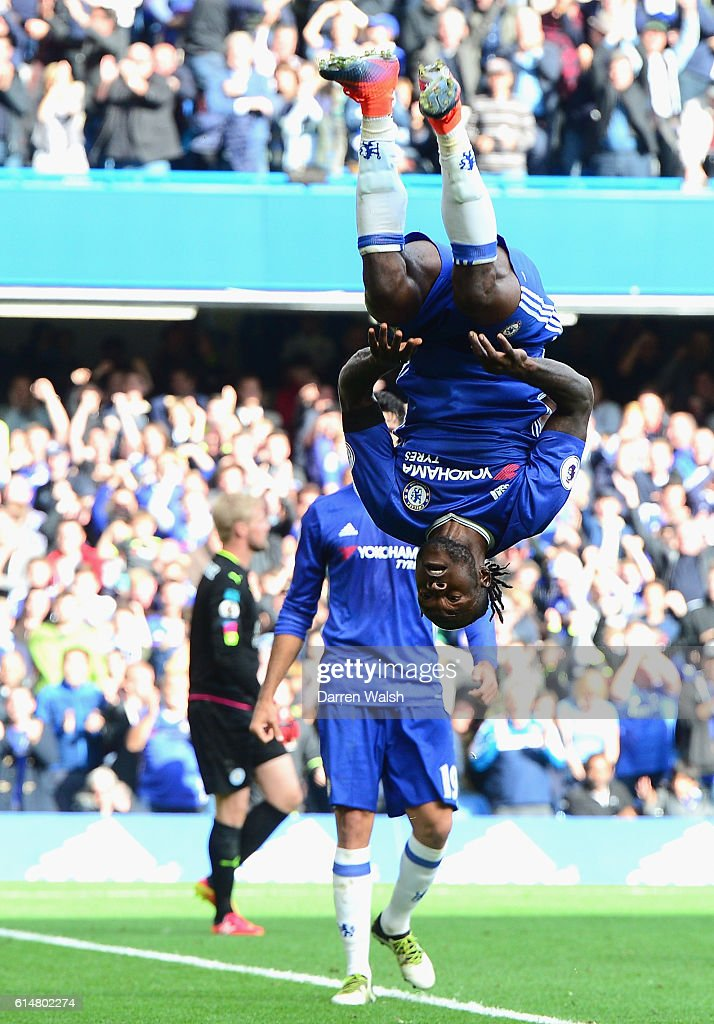 Victor Moses of Chelsea celebrates scoring his sides third goal during the Premier League match between Chelsea and Leicester City at Stamford Bridge on October 15, 2016 in London, England.