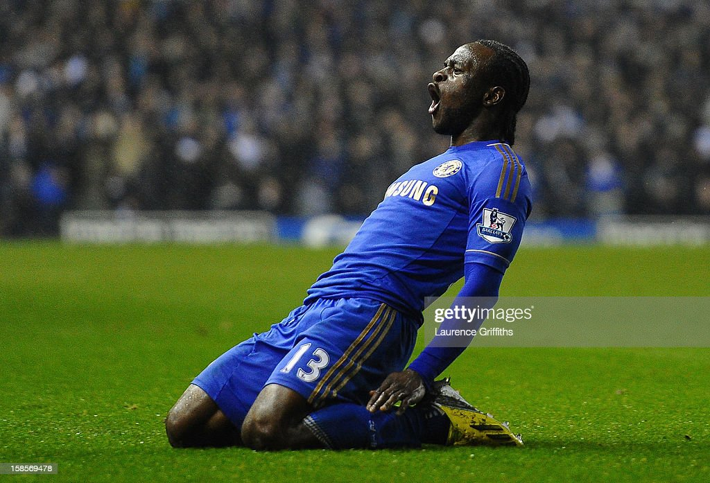 Victor Moses of Chelsea celebrates scoring his team's third goal to make the score 1-3 during the Capital One Cup Quarter-Final match between Leeds United and Chelsea at Elland Road on December 19, 2012 in Leeds, England.