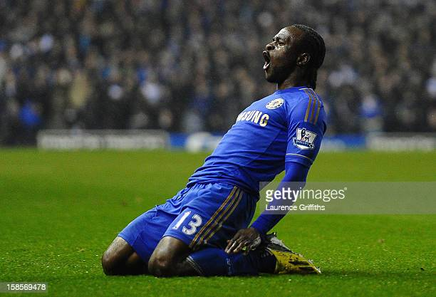 Victor Moses of Chelsea celebrates scoring his team's third goal to make the score 13 during the Capital One Cup QuarterFinal match between Leeds...