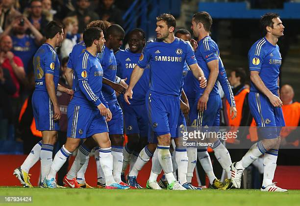 Victor Moses of Chelsea celebrates with team mates as he scores their second goal during the UEFA Europa League semifinal second leg match between...