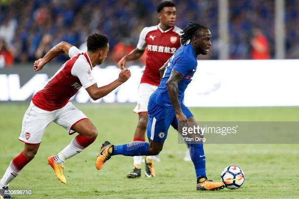 Victor Moses of Chelsea dribbles during the PreSeason Friendly match between Arsenal FC and Chelsea FC at Birds Nest on July 22 2017 in Beijing China