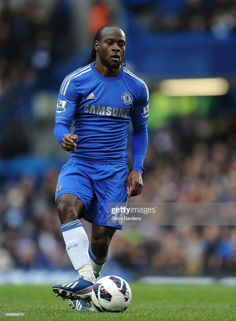 Victor Moses of Chelsea in action during the Barclays Premier League match between Chelsea and West Ham United at Stamford Bridge on March 17, 2013 in London, England.
