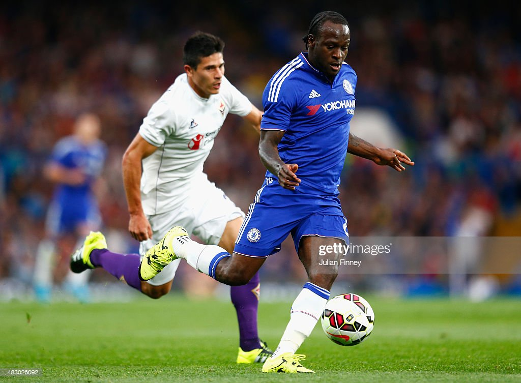 Victor Moses of Chelsea in action during the Pre Season Friendly match between Chelsea and Fiorentina at Stamford Bridge on August 5 2015 in London...